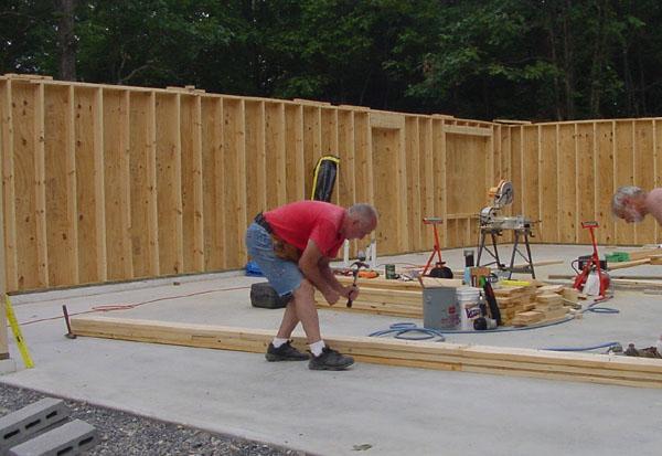 Framing the exterior walls for 16 garage door header